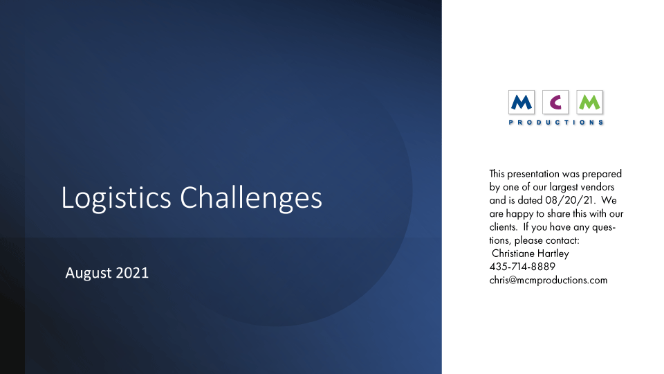 Global Logistic Challenges August 2021